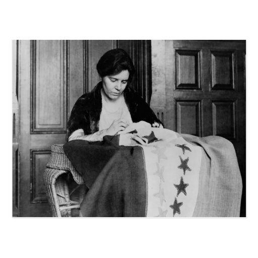 Alice Paul, Sewing Suffrage Flag, 1910s Post Card