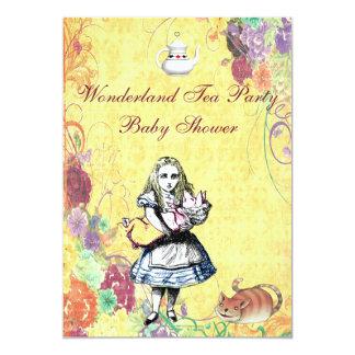 Alice & Pig Baby Wonderland Tea Party Baby Shower 5x7 Paper Invitation Card