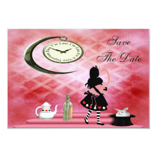 Alice & Pink Flamingo Baby Shower Save the Date Personalized Invitations