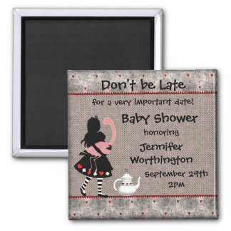 Alice & Pink Flamingo Baby Shower Save the Date Magnets