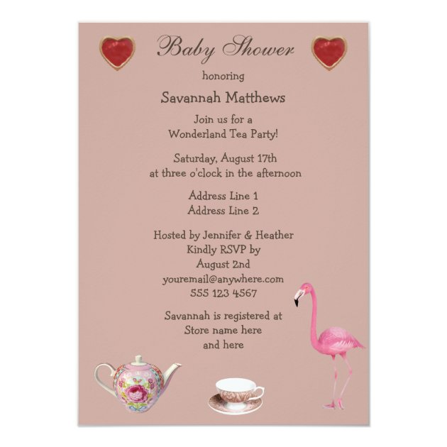 alice & pink flamingo baby shower tea party card | zazzle, Baby shower invitations