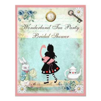 Alice & Pink Flamingo Bridal Shower Card
