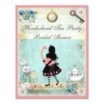 "Alice & Pink Flamingo Bridal Shower 4.25"" X 5.5"" Invitation Card"