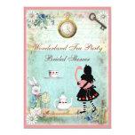 "Alice & Pink Flamingo Bridal Shower Tea Party 5"" X 7"" Invitation Card"