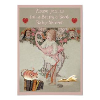 Alice & Pink Flamingo Bring a Book Baby Shower 4.5x6.25 Paper Invitation Card