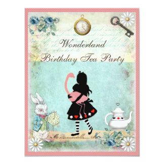 Alice, Pink Flamingo & Cheshire Cat Birthday Party Card