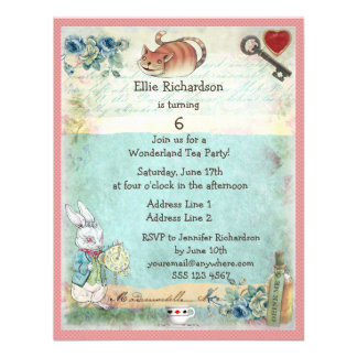 Alice Pink Flamingo Cheshire Cat Birthday Party Announcements