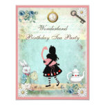Alice, Pink Flamingo & Cheshire Cat Birthday Party Announcements