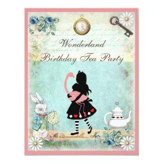"Alice, Pink Flamingo & Cheshire Cat Birthday Party 4.25"" X 5.5"" Invitation Card"