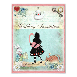 Alice, Pink Flamingo & Cheshire Cat Wedding Card