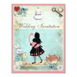 Alice, Pink Flamingo & Cheshire Cat Wedding Personalized Announcement