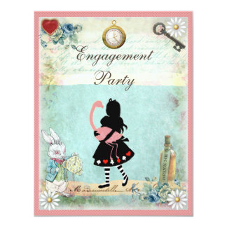 Alice & Pink Flamingo Engagement Party Card
