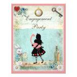 Alice & Pink Flamingo Engagement Party Invitation
