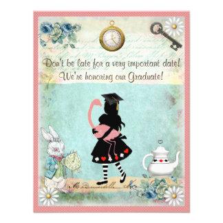 Alice & Pink Flamingo Graduation Party Personalized Invitation