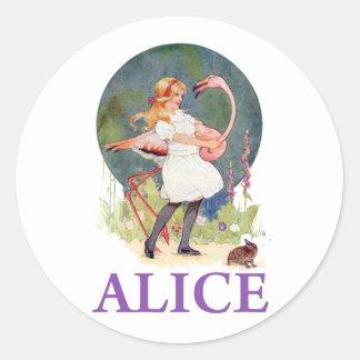 ALICE PREPARES TO  PLAY FLAMINGO CROQUET CLASSIC ROUND STICKER