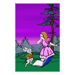 Alice & Rabbit In Wonderland Forest Custom Stationery