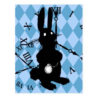 Alice Rabbit Late Postcard