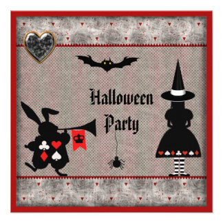 Alice & Rabbit Wonderland Halloween Party Invites