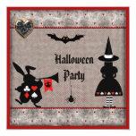 "Alice & Rabbit Wonderland Halloween Party Invites 5.25"" Square Invitation Card"