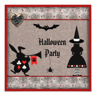 Alice & Rabbit Wonderland Halloween Party Invites
