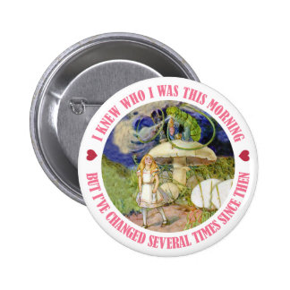ALICE SAYS, I KNEW WHO I WAS THIS MORNING PINBACK BUTTON