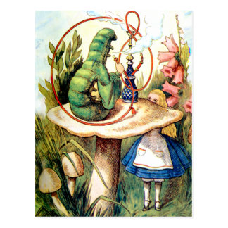 Alice Seeks Advice From A Caterpillar Postcard