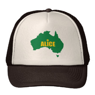 Alice Springs Green and Gold Map Cap Trucker Hat