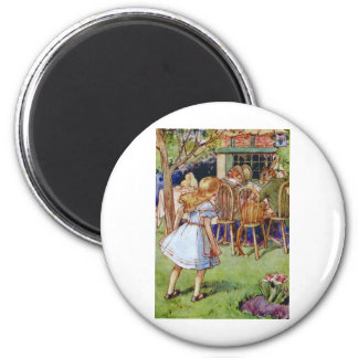 Alice Stumbles Upon The Mad Hatter's Tea Party 2 Inch Round Magnet