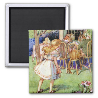 Alice Stumbles Upon The Mad Hatter's Tea Party 2 Inch Square Magnet