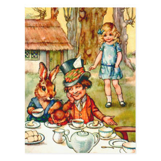 Alice Stumbles upon the Mad Hatter's Tea Party Postcard