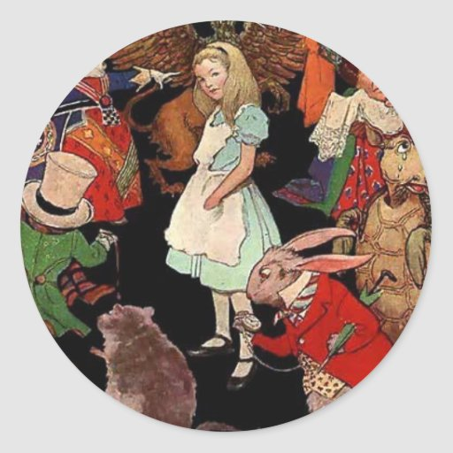 Alice Surrounded By Friends Classic Round Sticker