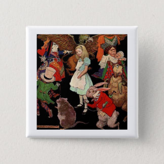 Alice Surrounded By Friends Pinback Button