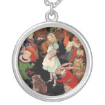 Alice Surrounded By Friends Round Pendant Necklace