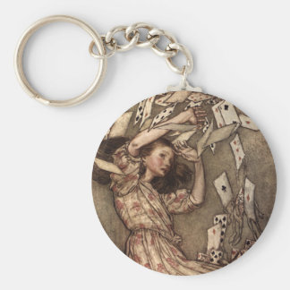 Alice Swarmed by Playing Cards Basic Round Button Keychain