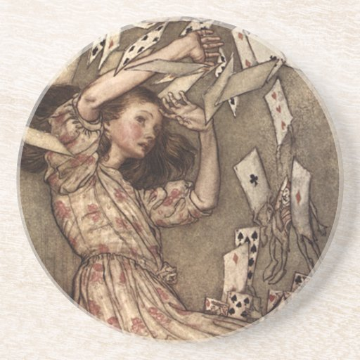 Alice Swarmed by Playing Cards Beverage Coasters