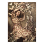"""Alice Swarmed by Playing Cards 5"""" X 7"""" Invitation Card"""