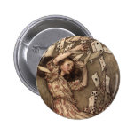 Alice Swarmed by Playing Cards Pinback Button