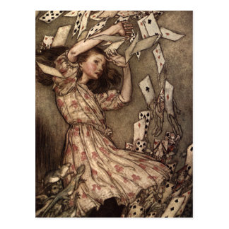 Alice Swarmed by Playing Cards Postcards