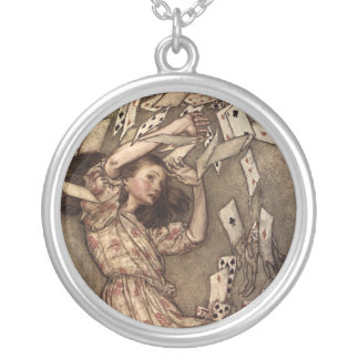 Alice Swarmed by Playing Cards Silver Plated Necklace