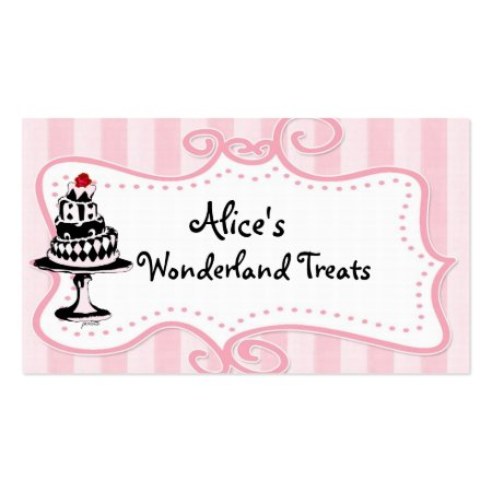Cute and Fun Whimsical Pink White and Black Alice in Wonderland Theme Business Cards