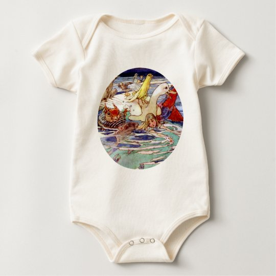 Alice Swimming In the Caucus Race Baby Bodysuit