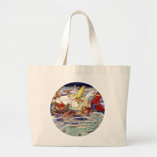 Alice Swimming In the Caucus Race Canvas Bags
