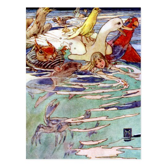 Alice Swimming in the Caucus Race Postcard