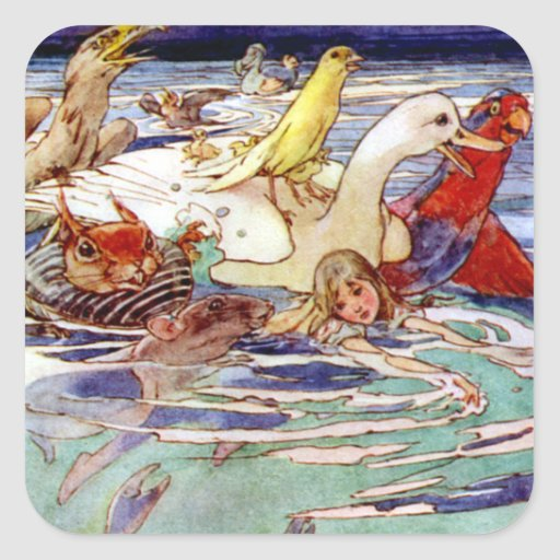 Alice Swimming in the Caucus Race Square Sticker