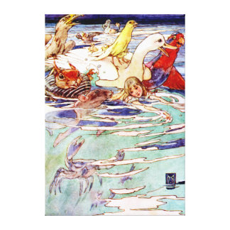 Alice Swimming In the Pool of Tears in Wonderland Canvas Print