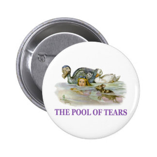 Alice swims in the pool of tears. pinback button