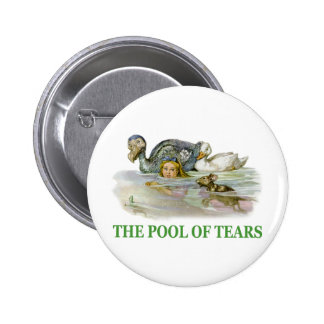 Alice swims in the Pool of Tears Pinback Button