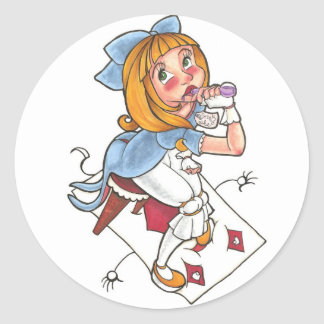 Alice takes a swig classic round sticker