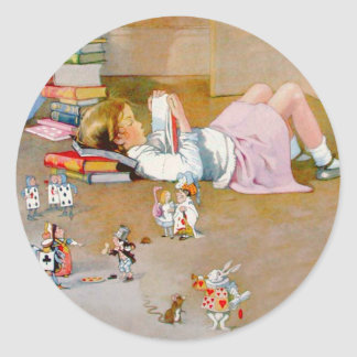 Alice Takes A Trip To Wonderland Classic Round Sticker