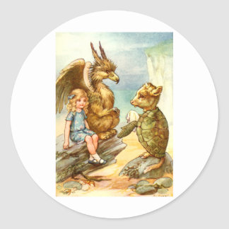 ALICE TALKE WITH THE GRIFFIN AND THE MOCK TURTLE CLASSIC ROUND STICKER